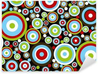 retro power red blue green circles on brown Sticker - Pixerstick