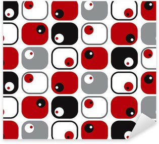 retro soft squares and dots in red, black and grey Sticker - Pixerstick