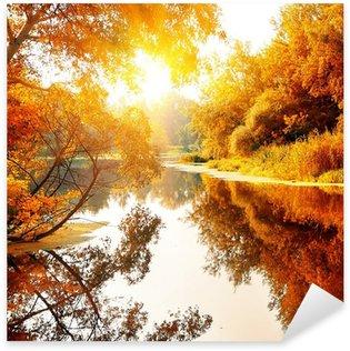 Sticker Pixerstick Rivière dans une forêt d'automne délicieux