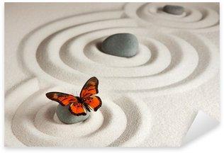 Sticker Pixerstick Roches zen avec papillon