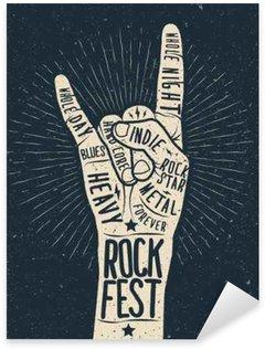 Sticker - Pixerstick Rock festival poster, flyer. Vector hand draw styled illustration.