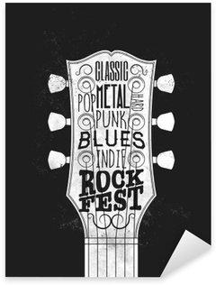 Sticker - Pixerstick Rock Music Festival Poster. Vintage styled vector illustration.
