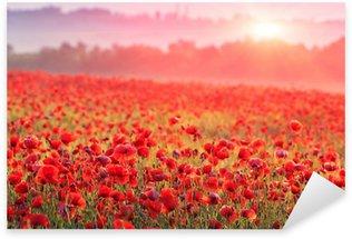 Pixerstick Sticker Rode papaver veld in ochtendmist