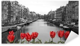 Pixerstick Sticker Rode tulpen in amsterdam