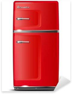 Pixerstick Sticker Rood retro koelkast - geïsoleerd op wit - vector bestand