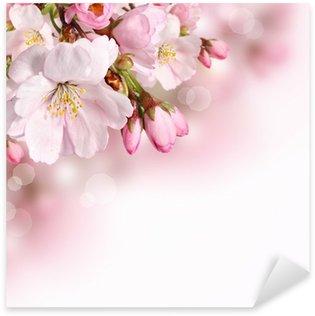 Sticker Pixerstick Rose fleurs de printemps fond frontière