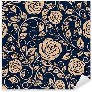 Sticker Pixerstick Roses anciennes fleurs seamless pattern