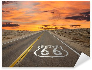 Sticker - Pixerstick Route 66 Pavement Sign Sunrise Mojave Desert
