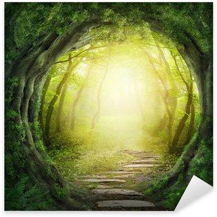 Sticker Pixerstick Route dans la forêt sombre