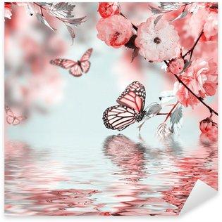 Pixerstick Sticker Roze bloem van een oosterse cherry in en vlinder