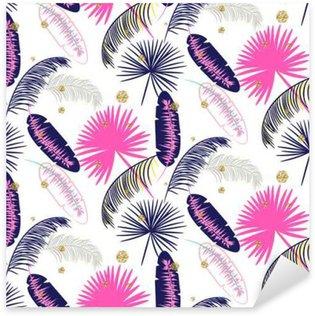 Pixerstick Sticker Roze en blauwe banaan palmbladeren naadloze vector patroon op een witte achtergrond. Tropische banaan jungle blad. Glitter stippen.