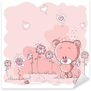 Pixerstick Sticker Roze schattige beer met een bloem