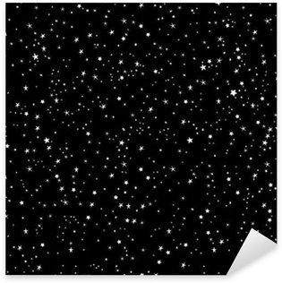 Pixerstick Sticker Ruimte achtergrond, nachtelijke hemel en sterren zwart en wit naadloze vector patroon