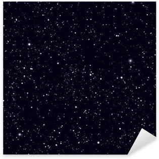 Pixerstick Sticker Ruimte met sterren vector achtergrond. Galaxy en planeten in de kosmos patroon
