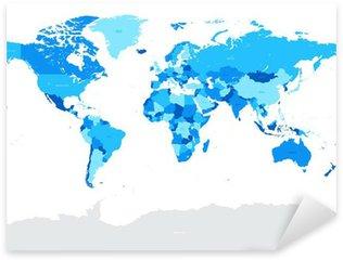 Sticker Pixerstick Salut Détail bleu vecteur politique Carte du monde illustration