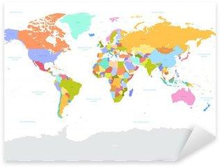 Sticker Pixerstick Salut Détail de couleur Vecteur politique Carte du monde illustration