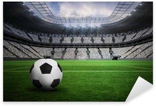 Pixerstick Sticker Samengesteld beeld van zwart-wit lederen voetbal