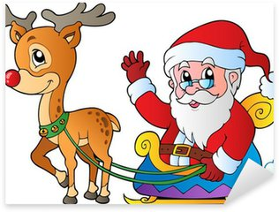 Sticker - Pixerstick Santa Claus with sledge and deer