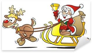 Santa with Reindeer, Sledge and Bell Sticker - Pixerstick