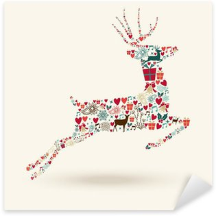 Sticker Pixerstick Saut Joyeux Noël cerfs illustration