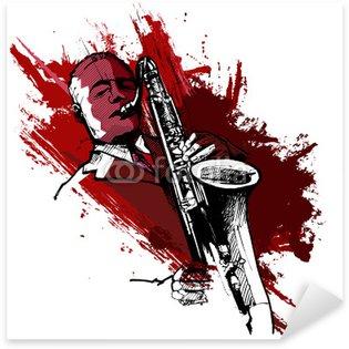 Sticker - Pixerstick saxophonist on a grunge background