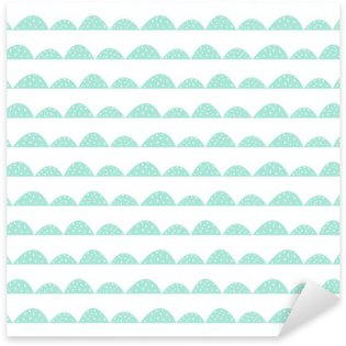 Scandinavian seamless mint pattern in hand drawn style. Stylized hill rows. Wave simple pattern for fabric, textile and baby linen. Sticker - Pixerstick