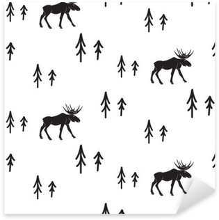 Scandinavian simple style black and white deer seamless pattern. Deers and pines monochrome silhouette pattern. Pixerstick Sticker