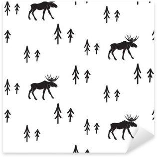 Pixerstick Sticker Scandinavische eenvoudige stijl zwart-wit herten naadloos patroon. Herten en dennen zwart-wit silhouet patroon.