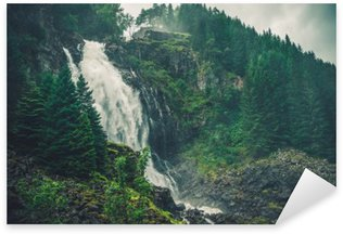 Scenic Norwegian Waterfall Sticker - Pixerstick