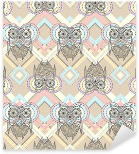 Pixerstick Sticker Schattige uil naadloos patroon met inheemse elementen