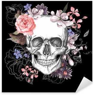 Pixerstick Sticker Schedel en Bloemen Dag van de Doden