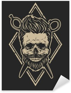 Pixerstick Sticker Schedel met een baard en een stijlvol kapsel.