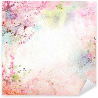 Pixerstick Sticker Schilderachtige aquarel achtergrond, bloemige samenstelling Sakura