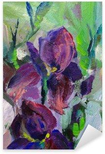Pixerstick Sticker Schilderij stilleven schilderen met olieverf textuur, irissen impressionisme een