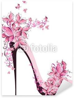 Pixerstick Sticker Schoenen op een hoge hak versierd met vlinders