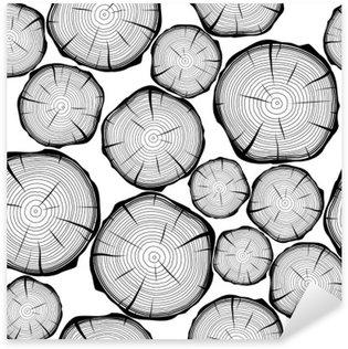 Sticker Pixerstick Seamless avec des anneaux d'arbres. Vecteur de fond
