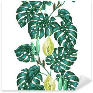 Sticker Pixerstick Seamless avec des feuilles de monstera. Image décorative de végétation tropicale et de fleurs. Contexte faite sans masque d'écrêtage. Facile à utiliser pour toile de fond, le textile, le papier d'emballage