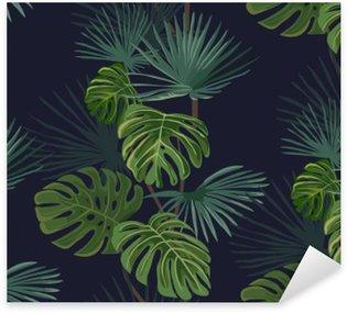 Sticker Pixerstick Seamless avec des feuilles tropicales. Hand drawn fond.