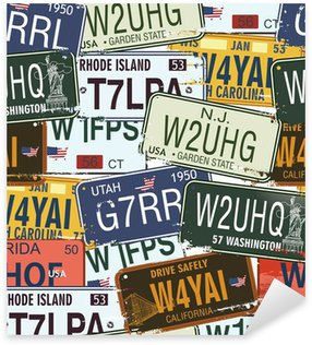 Pixerstick for All Surfaces Seamless Background - Retro Auto Licence Plates
