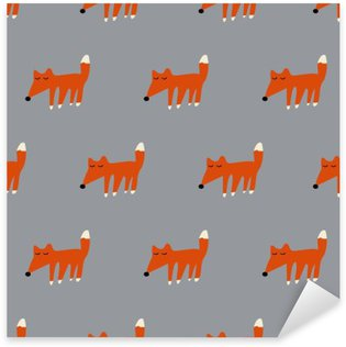 seamless cute fox pattern Sticker - Pixerstick