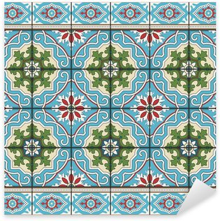 Sticker Pixerstick Seamless de carreaux et de la frontière. Marocaine, portugaise, ornements Azulejo.
