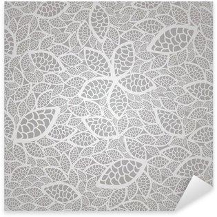 Sticker Pixerstick Seamless dentelle de feuilles d'argent motif de papier peint