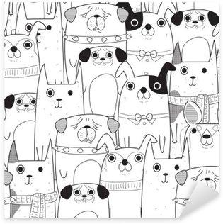 Sticker - Pixerstick Seamless Dogs pattern
