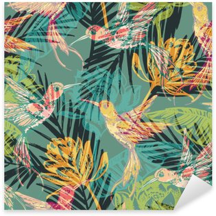 Pixerstick for All Surfaces Seamless exotic pattern with abstract palm leaves and colibri.