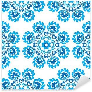 Sticker Pixerstick Seamless floral bleu motif d'art folklorique polonaise - wycinanki