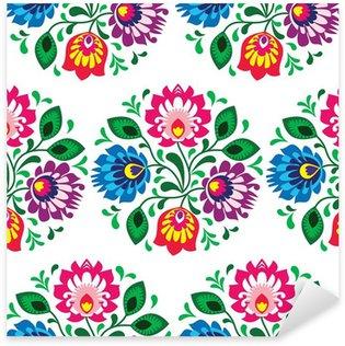 Sticker Pixerstick Seamless floral traditionnel de la Pologne sur fond blanc