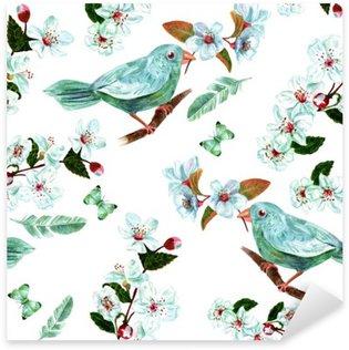Sticker Pixerstick Seamless fond à l'aquarelle oiseaux, des fleurs, des plumes et des papillons