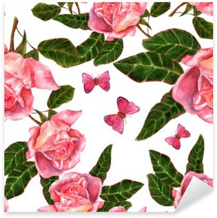 Sticker Pixerstick Seamless fond avec aquarelle roses style vintage