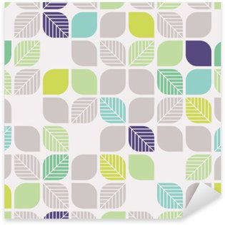 seamless geometric pattern with leaves Sticker - Pixerstick