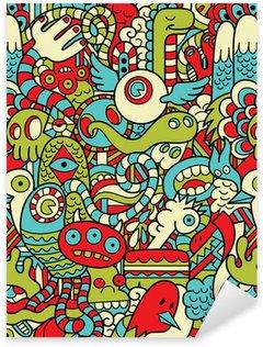 Sticker - Pixerstick Seamless Hipster Doodle Monster Collage Pattern